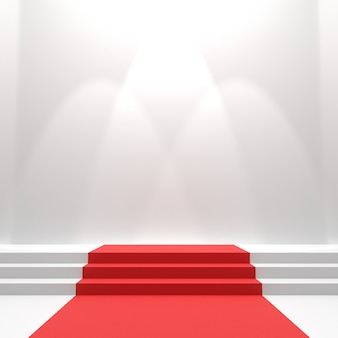 Roter teppich auf der treppe.