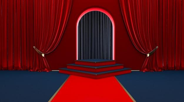 Roter teppich eingang mit barrieren und samtseilen.