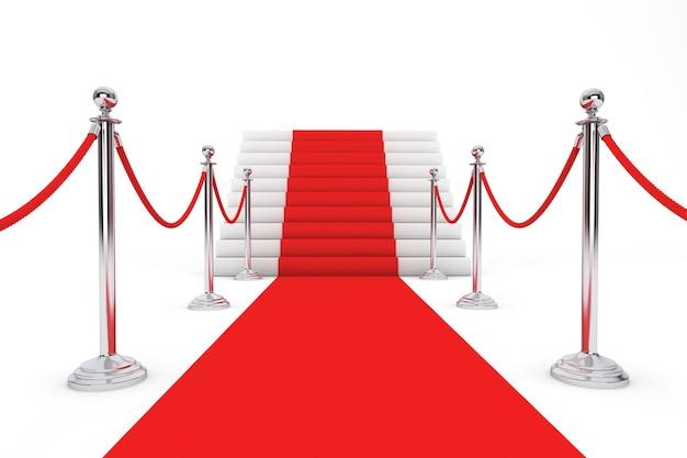 Roter teppich und absperrseil auf weißem hintergrund