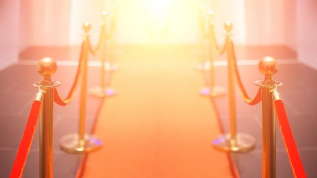 Roter teppich zwischen seilsperren in der erfolgsparty