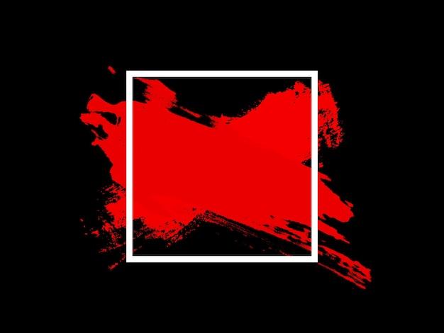 Roter touch im weißen quadrat ist auf schwarzem hintergrund isoliert. foto in hoher qualität