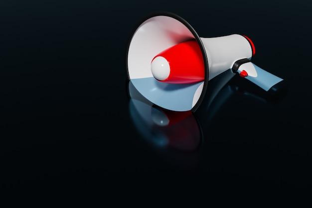 Roter und weißer cartoon-lautsprecher liegt im wasser auf einem schwarzen monochromen hintergrund