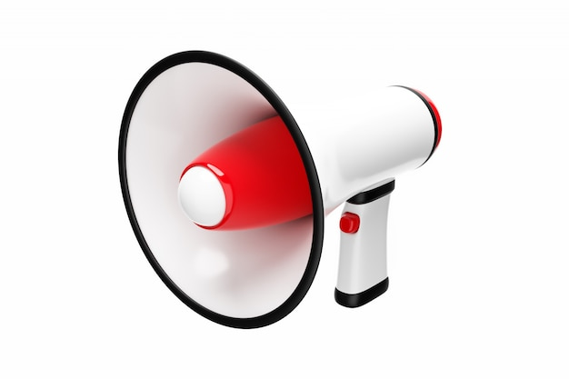 Roter und weißer karikaturlautsprecher auf einem weißen monochromen hintergrund.