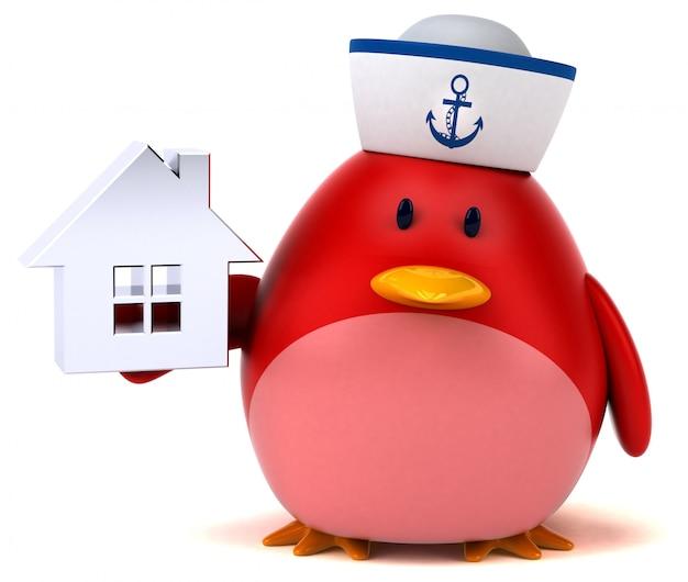 Roter vogel - 3d-illustration