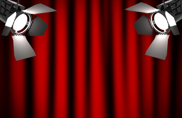 Roter vorhang mit scheinwerfern