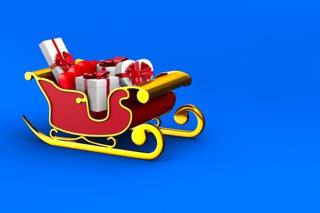Roter weihnachtsschlitten auf blauem hintergrund. isolierte 3d-illustration
