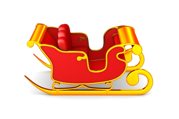 Roter weihnachtsschlitten auf weiß. isolierte 3d-illustration