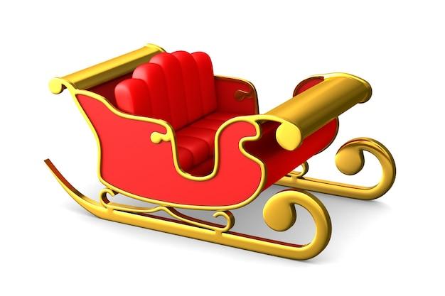Roter weihnachtsschlitten auf weißem raum. isolierte 3d-illustration