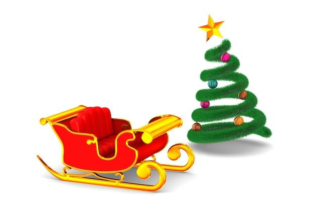 Roter weihnachtsschlitten und baum auf weiß. isolierte 3d-illustration