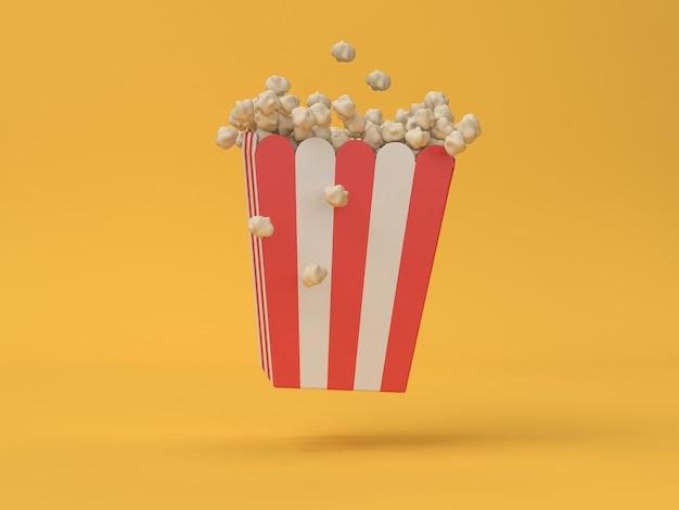 Roter weißer kasten des popcorns 3d, der abstrakten film, kino, unterhaltungskonzept schwimmt