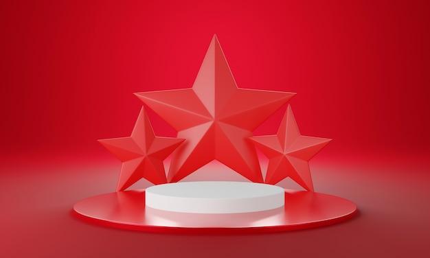 Roter weißer kreis produktpräsentationsbühne oder leerer podestsockelhintergrund 3d-rendering
