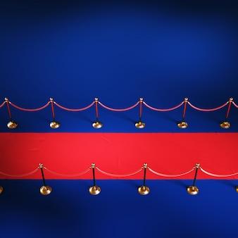 Roter zeremonienteppich, goldene barriere, draufsicht, 3d