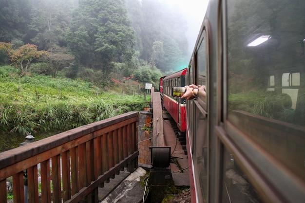 Roter zug fährt am nebligen tag am berg alishan, taiwan.