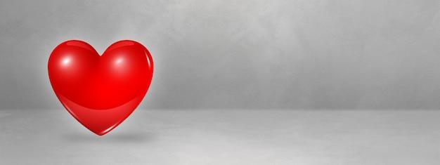 Rotes 3d-herz lokalisiert auf einem konkreten studiobanner. 3d-illustration