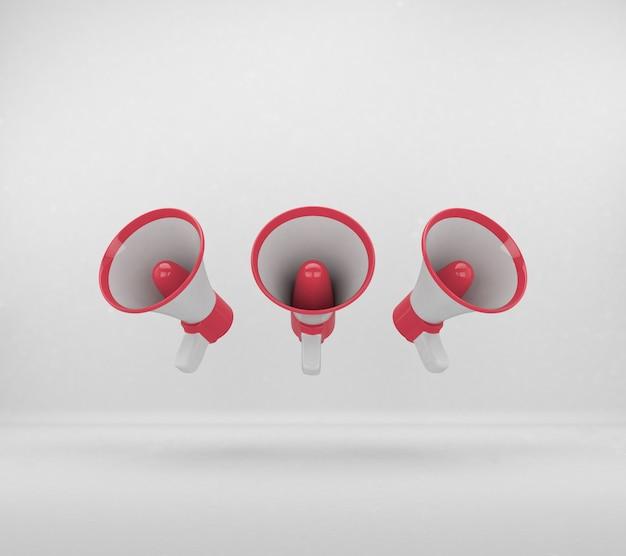 Rotes 3d-megaphon für zusammensetzung isoliert