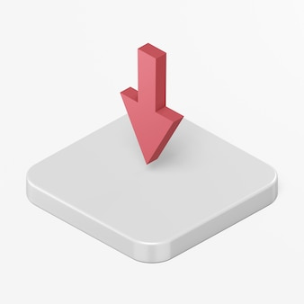 Rotes abwärtspfeilsymbol im 3d-rendering-schnittstellen-ui-ux-element
