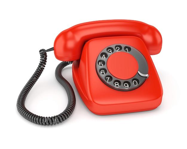 Rotes altmodisches telefon