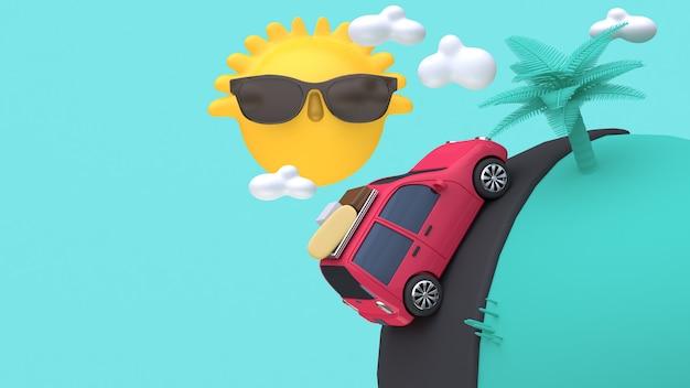 Rotes auto 3d auf straßenminigelb-sonnenbaum-karikaturart 3d übertragen reisesommerkonzept