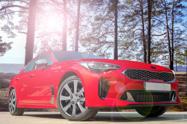 Rotes auto auf einem hintergrund von kiefern.