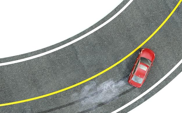 Rotes auto fährt mit schleudern in die kurve.