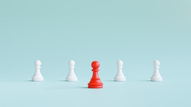 Rotes bauernschach trat aus der reihe, um weißes schach auf blauem hintergrund für verschiedene denkideen und führungskonzepte durch 3d-rendering zu führen.