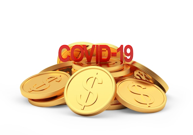 Rotes covid-19-symbol auf einem stapel dollarmünzen