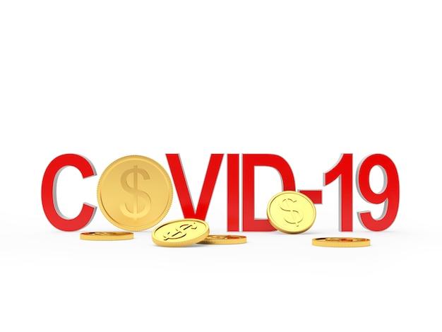 Rotes covid-19-symbol und dollarmünzen