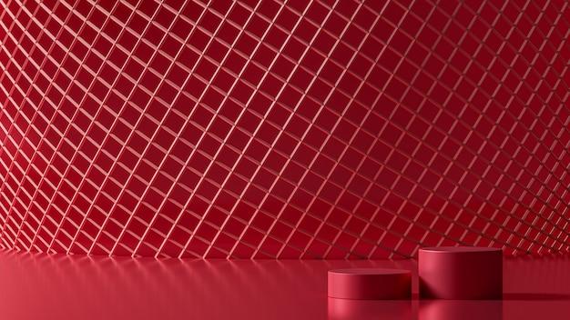 Rotes drahtgitter des neuen 3d-rendering-luxus des netzkreises des netzkreises, 3d-illustration