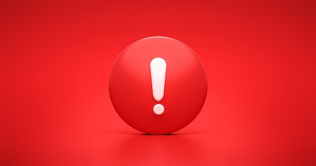 Rotes dringlichkeits-warnsymbol-symbol und warnungs-sicherheits-warnmeldung oder ausrufe-gefahren-sicherheitszeichen auf fehlerrisiko-sicherungszeichen-illustrationshintergrund mit warnsignal stop-aufmerksamkeitsalarm. 3d-rendering.