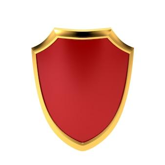 Rotes emblem, getrennt auf weißem hintergrund. symbol des schutzes.