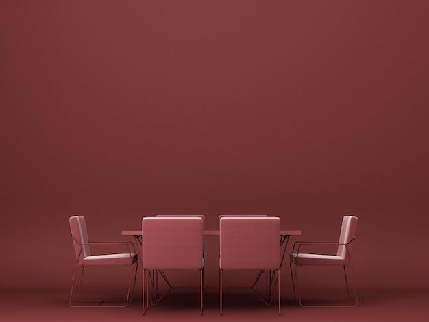 Rotes esstisch und stuhl 3d rendering