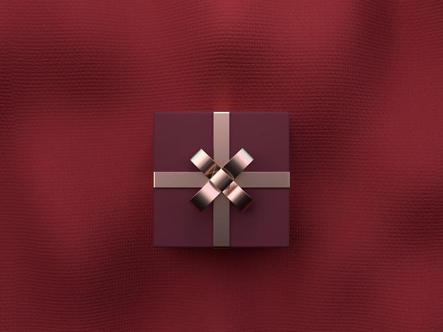 Rotes flaches szenengewebebeschaffenheitsgoldmetallisches gegenstanddekorations-weihnachtskonzept