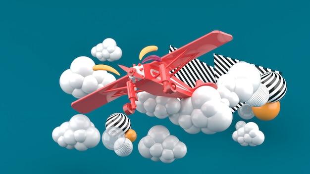 Rotes flugzeug in den wolken auf grün. 3d rendern