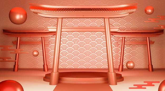Rotes geometrisches podium japanisches traditionspodest.