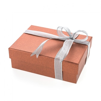 Rotes geschenk mit einem weißen krawatte