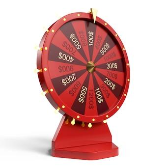 Rotes glück- oder glücksrad der 3d-illustration. realistisch drehendes glücksrad. radvermögen lokalisiert auf weißem hintergrund.