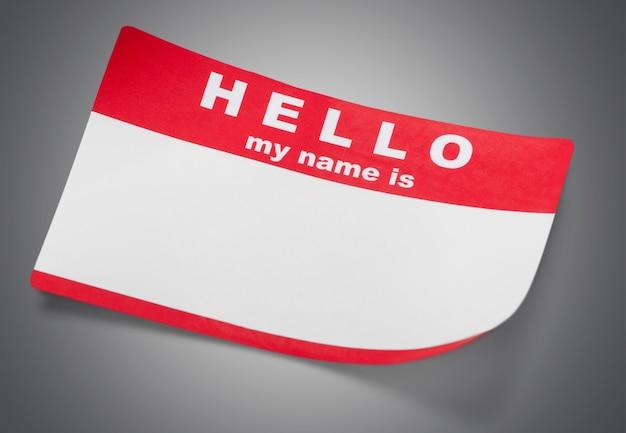 Rotes hallo, mein name ist etikett mit kopienraum.