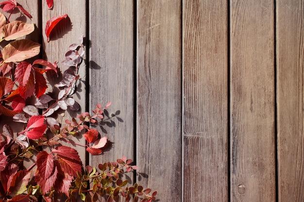 Rotes herbstlaub auf altem hölzernem hintergrund