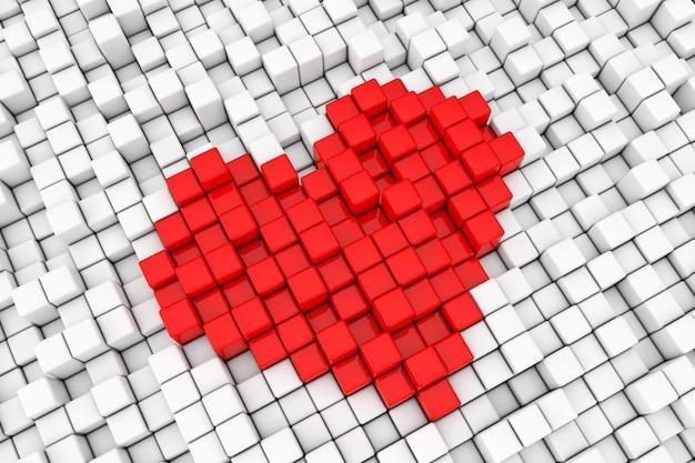 Rotes herz-block-würfel-pixel-zeichen extreme nahaufnahme. 3d-rendering