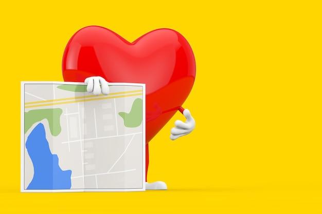 Rotes herz-charakter-maskottchen mit abstrakter stadtplan-karte auf einem gelben hintergrund. 3d-rendering