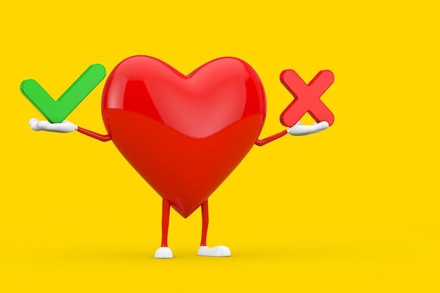 Rotes herz-charakter-maskottchen mit rotem kreuz und grünem häkchen, bestätigen oder verweigern, ja oder nein-symbol auf gelbem hintergrund. 3d-rendering