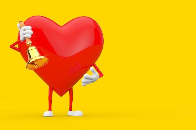 Rotes herz-charakter-maskottchen mit vintage golden school bell auf gelbem grund. 3d-rendering