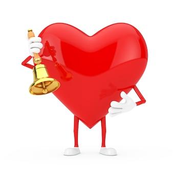Rotes herz-charakter-maskottchen mit vintage golden school bell auf weißem hintergrund. 3d-rendering