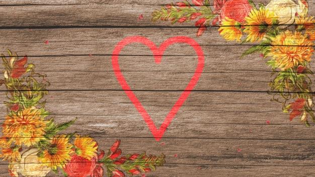 Rotes herz der nahaufnahme und weinlesesommerblumen auf holz, hochzeitshintergrund. eleganter und luxuriöser pastell-3d-illustrationsstil für hochzeit oder romantisches thema