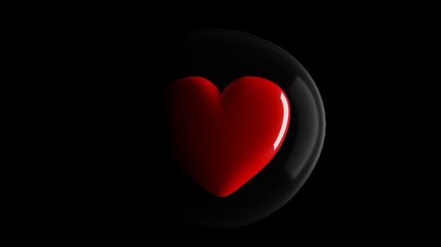 Rotes herz geschützt durch blasen und das licht, das von der seite auf schwarzem hintergrund scheint. konzept der liebe und des schutzes, 3d-rendering.