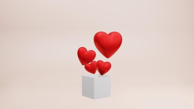 Rotes herz mit geschenkbox, 3d-render