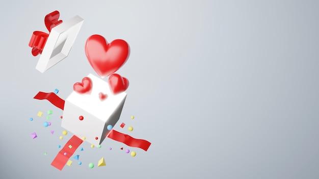 Rotes herz mit geschenkbox, 3d-render Premium Fotos