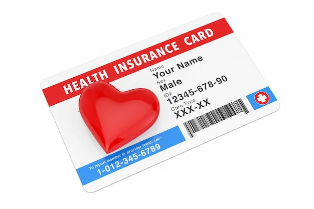 Rotes herz mit krankenversicherung medical card-konzept auf weißem hintergrund. 3d-rendering