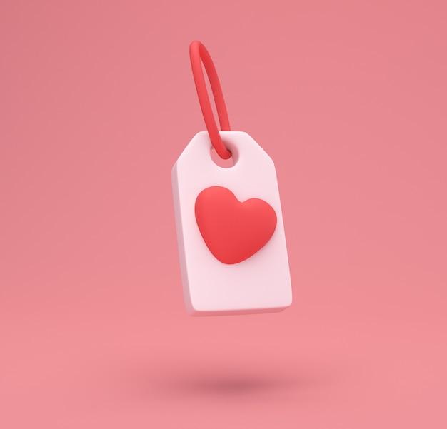Rotes herz-tag-symbol lokalisiert auf niedlichem hintergrund. liebessymbol. valentinstag symbol. minimales kreatives konzept. 3d-darstellung der 3d-illustration