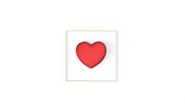 Rotes herz und goldrahmen-3d-rendering für valentinstaginhalte.